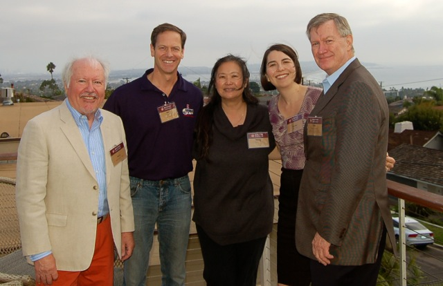 Dr. Thomas McGuinness, at right, with hosts and BC Alumni San Diego board members (from left) Bill McDonald '68; Ken Roos '85, P'16; Wendy Roos '85, P'16; and Lissa Tsu '00.