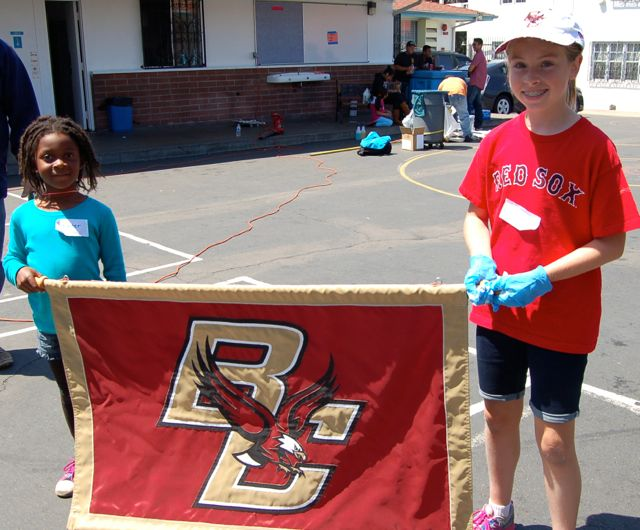 Two potential Eagles helped out and proudly held the BC banner.
