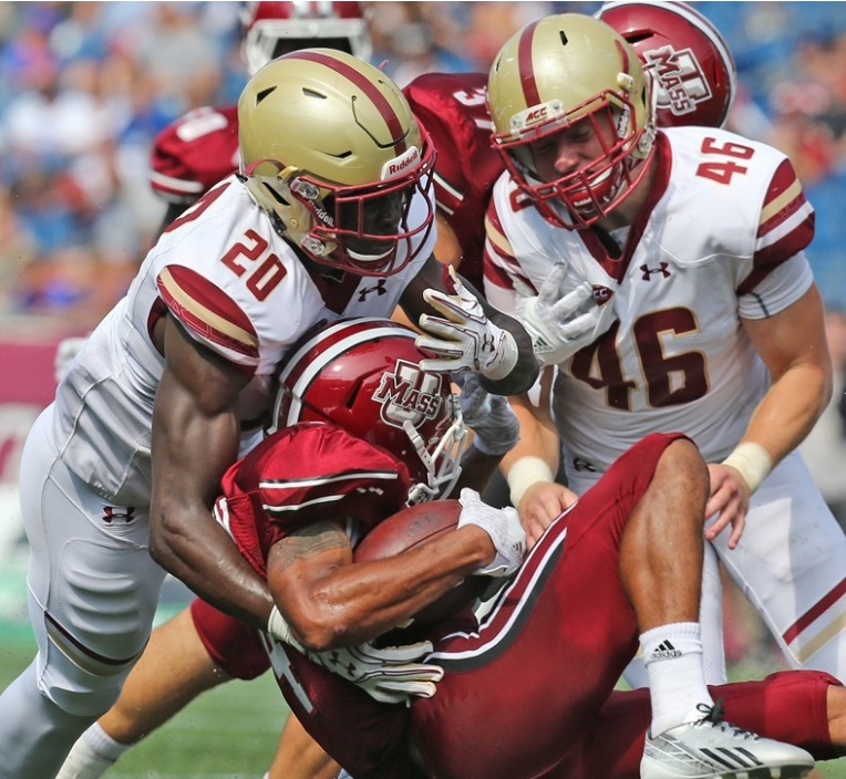 BC's defense, in this case Isaac Yiadom, left, and Jimmy Martin, stifled the UMass offense.