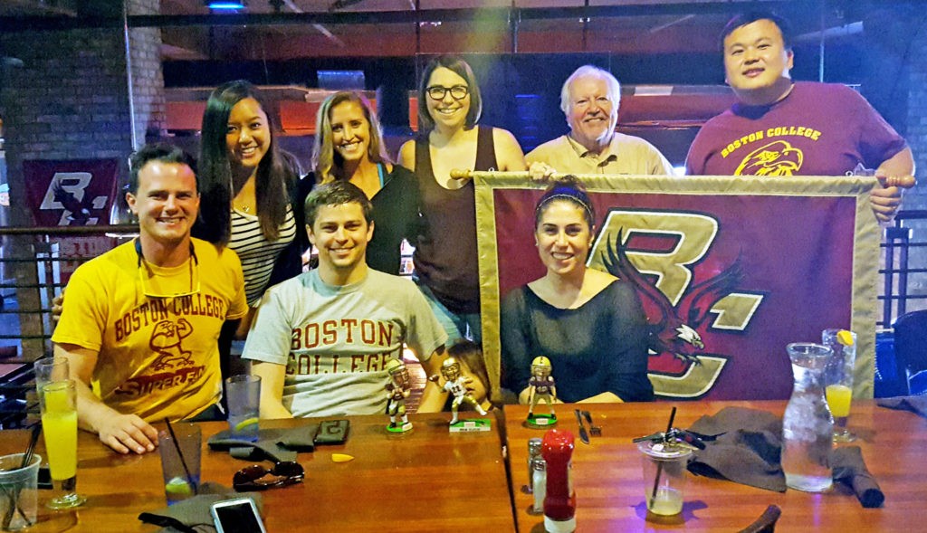 A small, but hardy, crew at Saturday's gamewatch. Front, l-r: Pat Ahern '11, Chris Lamb MS'08, and Julia Leone '11. Rear, l-r: Adrienne Lamb, Meryl Evangelista, Lissa Tsu '00, Bill McDonald '68, and Brian Tsu '00.