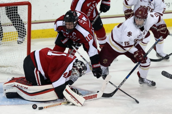 Colin White (15) scored his second career Beanpot goal against Northeastern